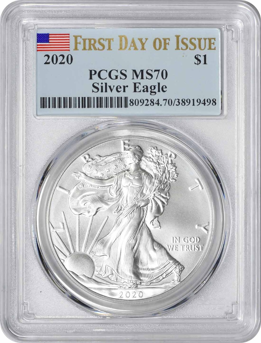2020 $1 American Silver Eagle MS70 First Day of Issue PCGS