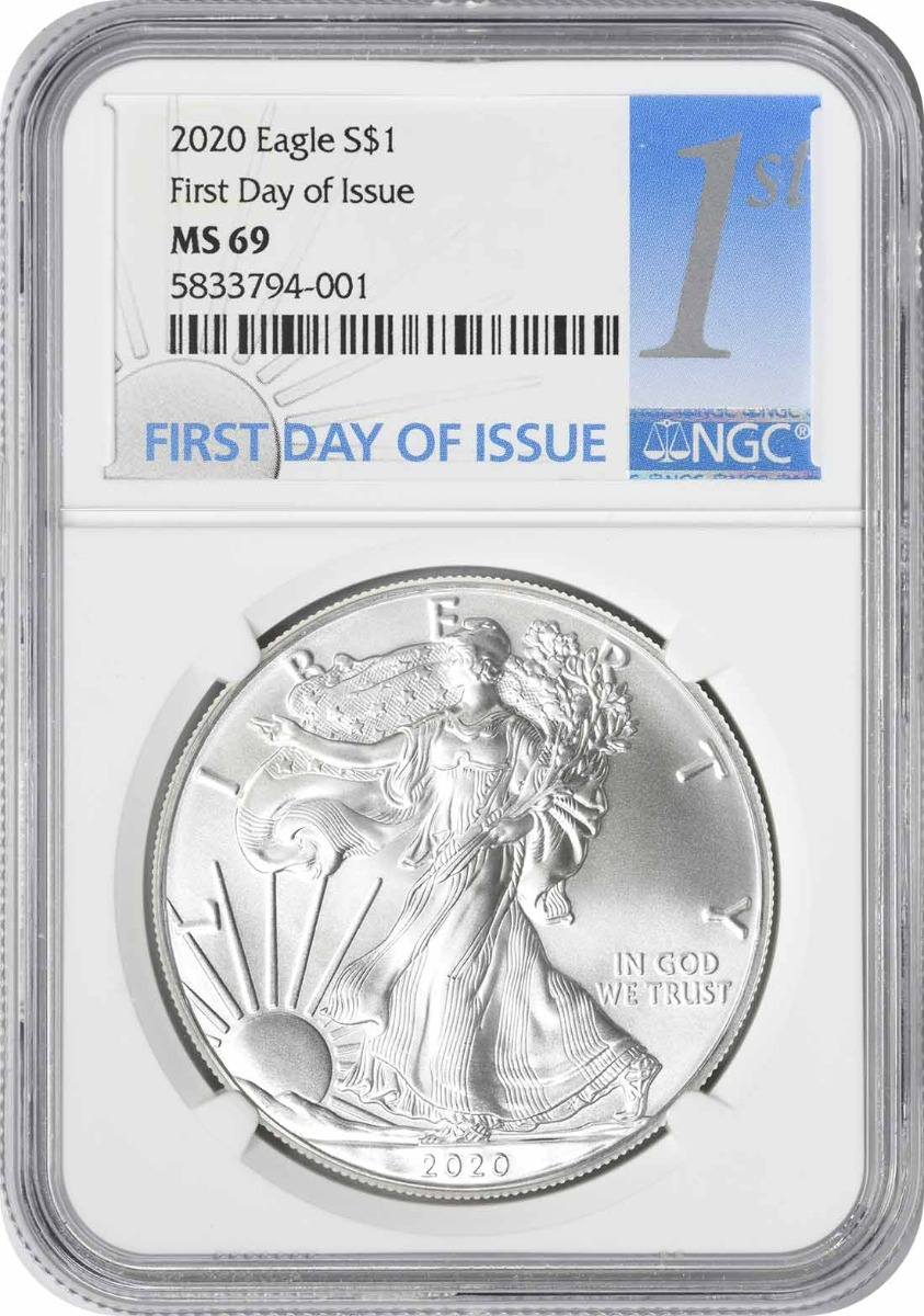 2020 $1 American Silver Eagle MS69 First Day of Issue NGC