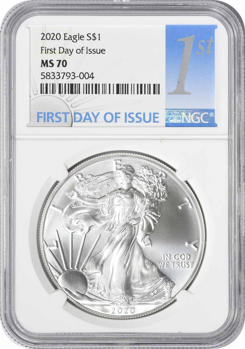 2020 $1 American Silver Eagle MS70 First Day of Issue NGC
