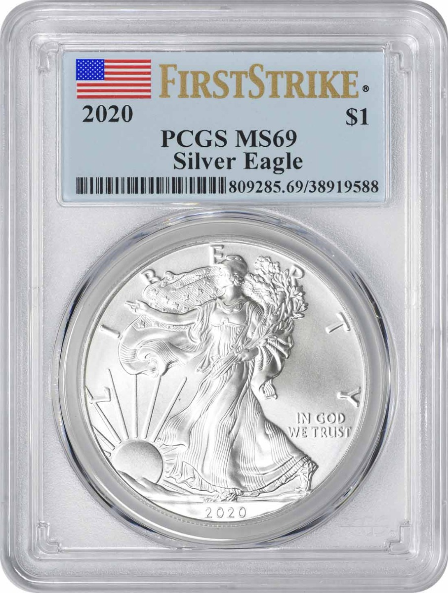 2020 $1 American Silver Eagle MS69 First Strike PCGS