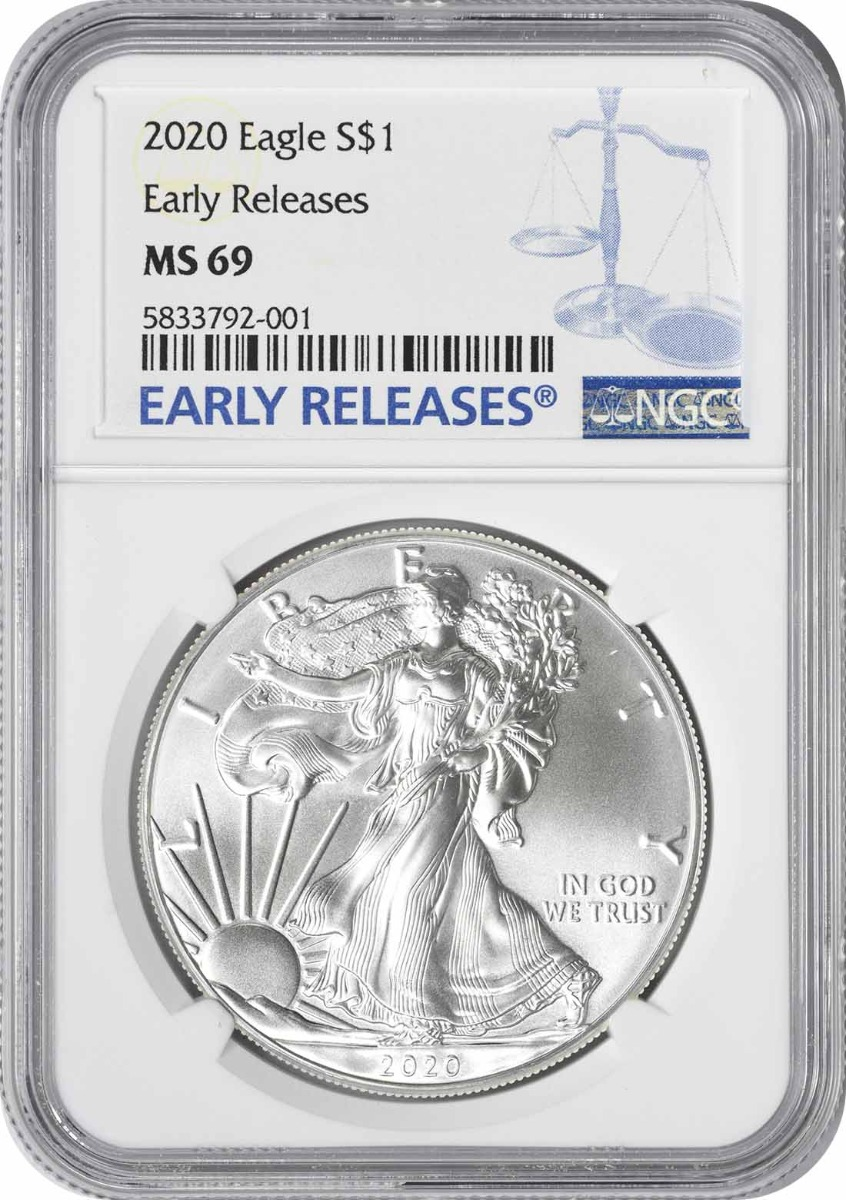 2020 $1 American Silver Eagle MS69 Early Releases NGC