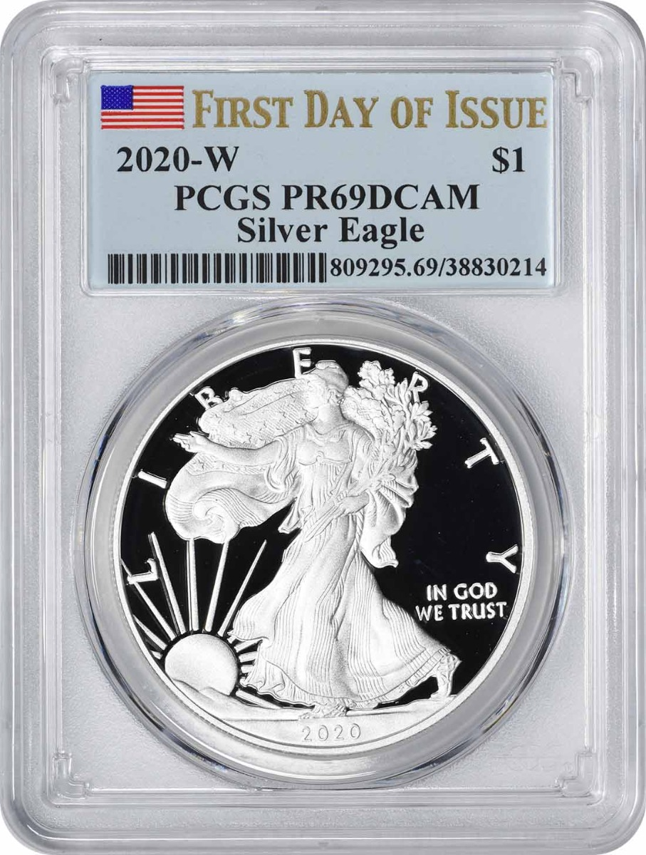 2020-W $1 American Silver Eagle PR69DCAM First Day of Issue PCGS