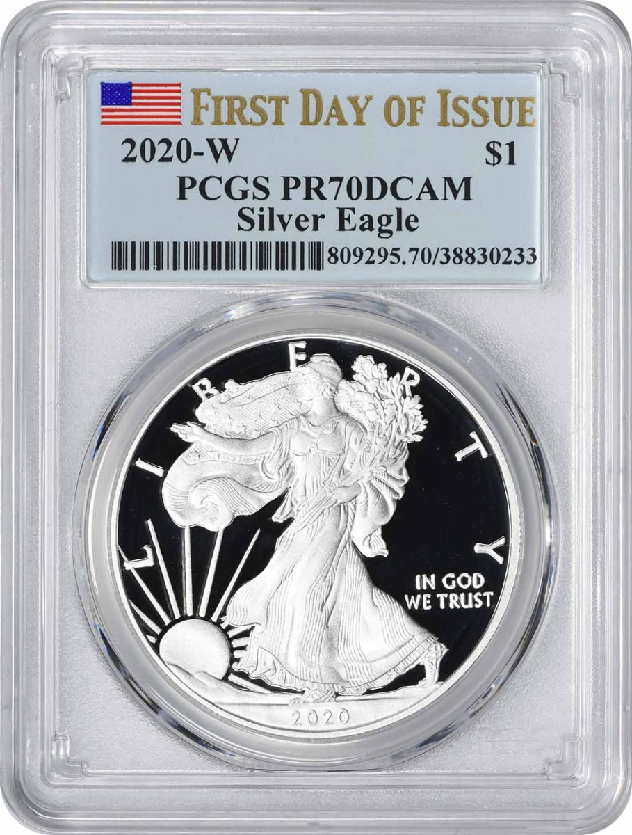 2020-W $1 American Silver Eagle PR70DCAM First Day of Issue PCGS