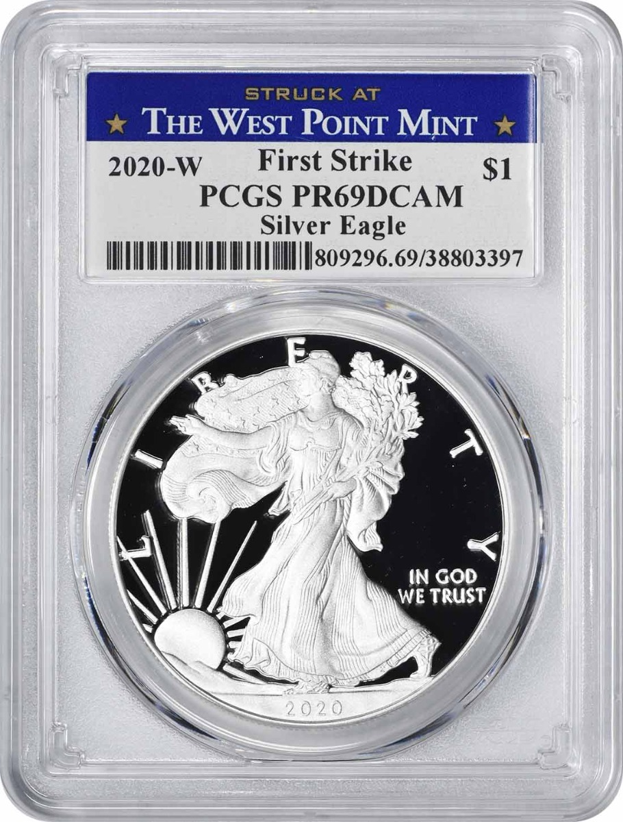 2020-W $1 American Silver Eagle PR69DCAM First Strike PCGS (Struck at West Point Label)