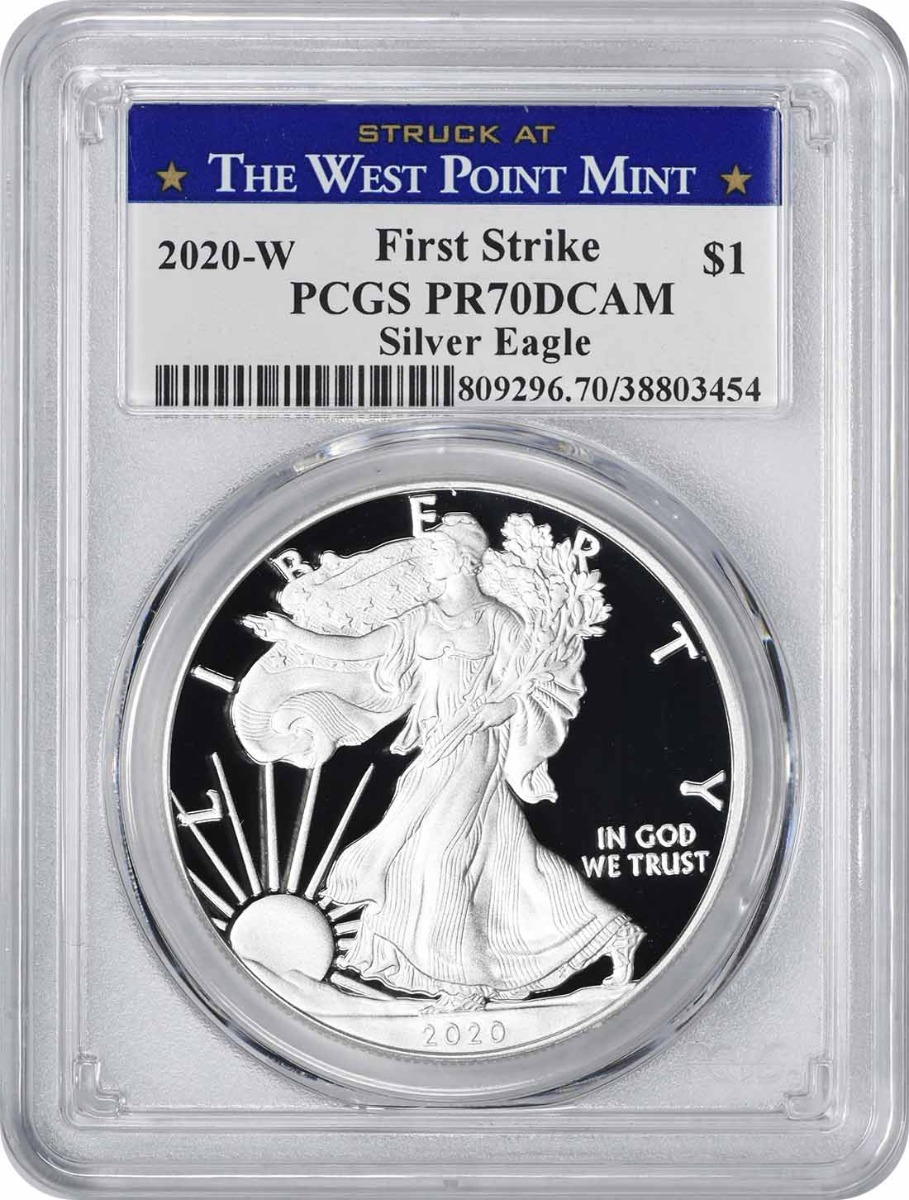 2020-W $1 American Silver Eagle PR70DCAM First Strike PCGS (Struck at West Point Label)