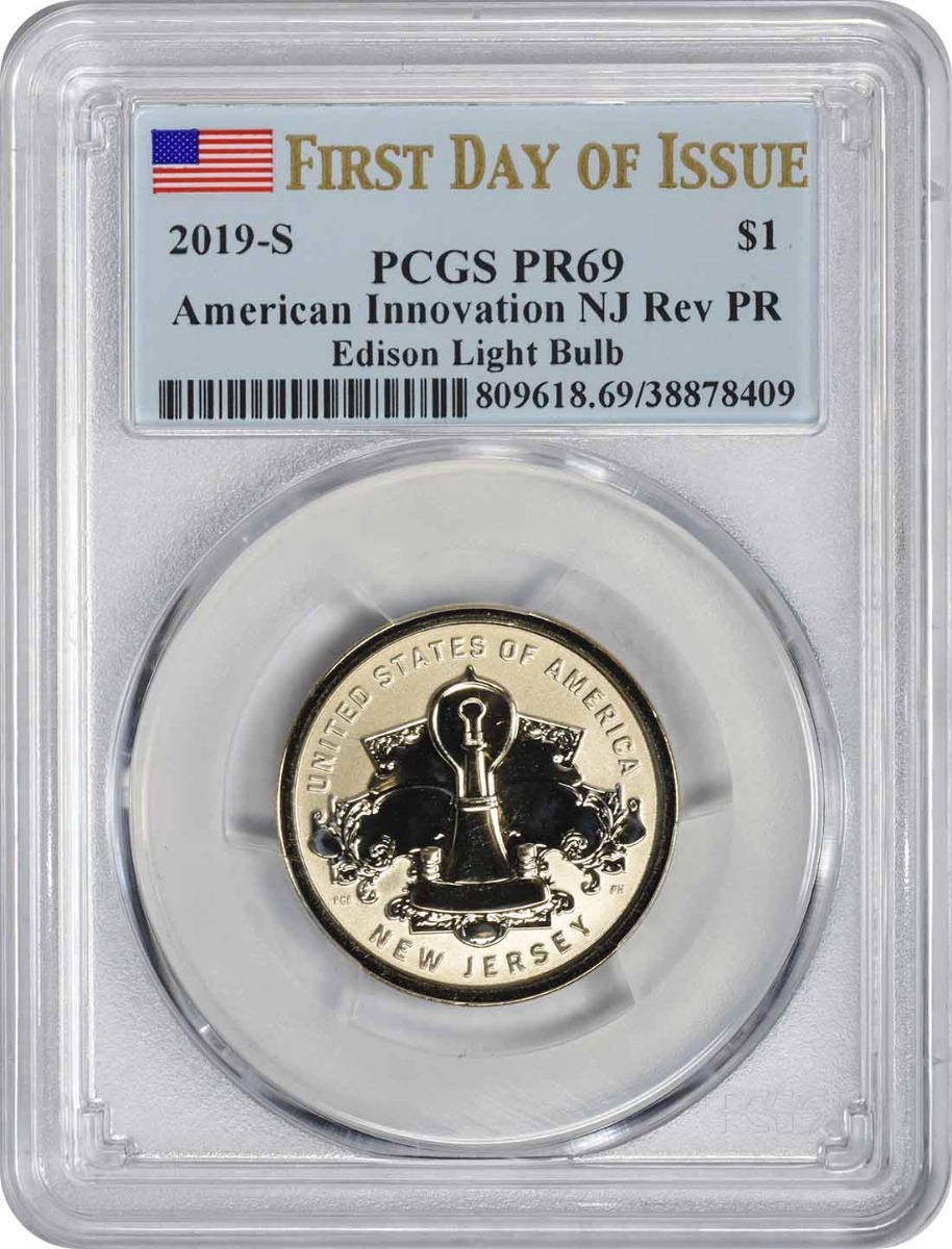 2019-S American Innovation Dollar NJ Edison Light Bulb Reverse Proof PR69 First Day of Issue PCGS