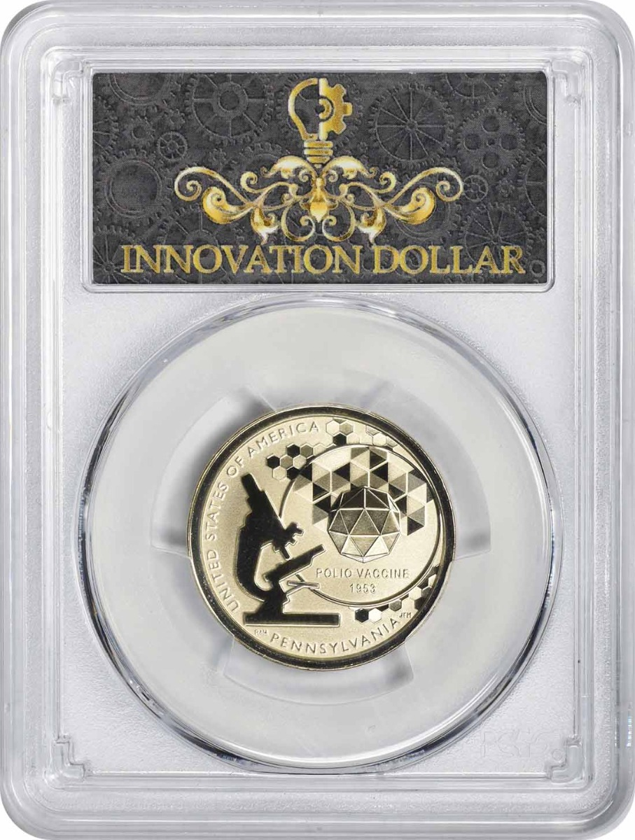 2019-S American Innovation Dollar PA Polio Vaccine 1953 Reverse Proof PR69 First Strike PCGS