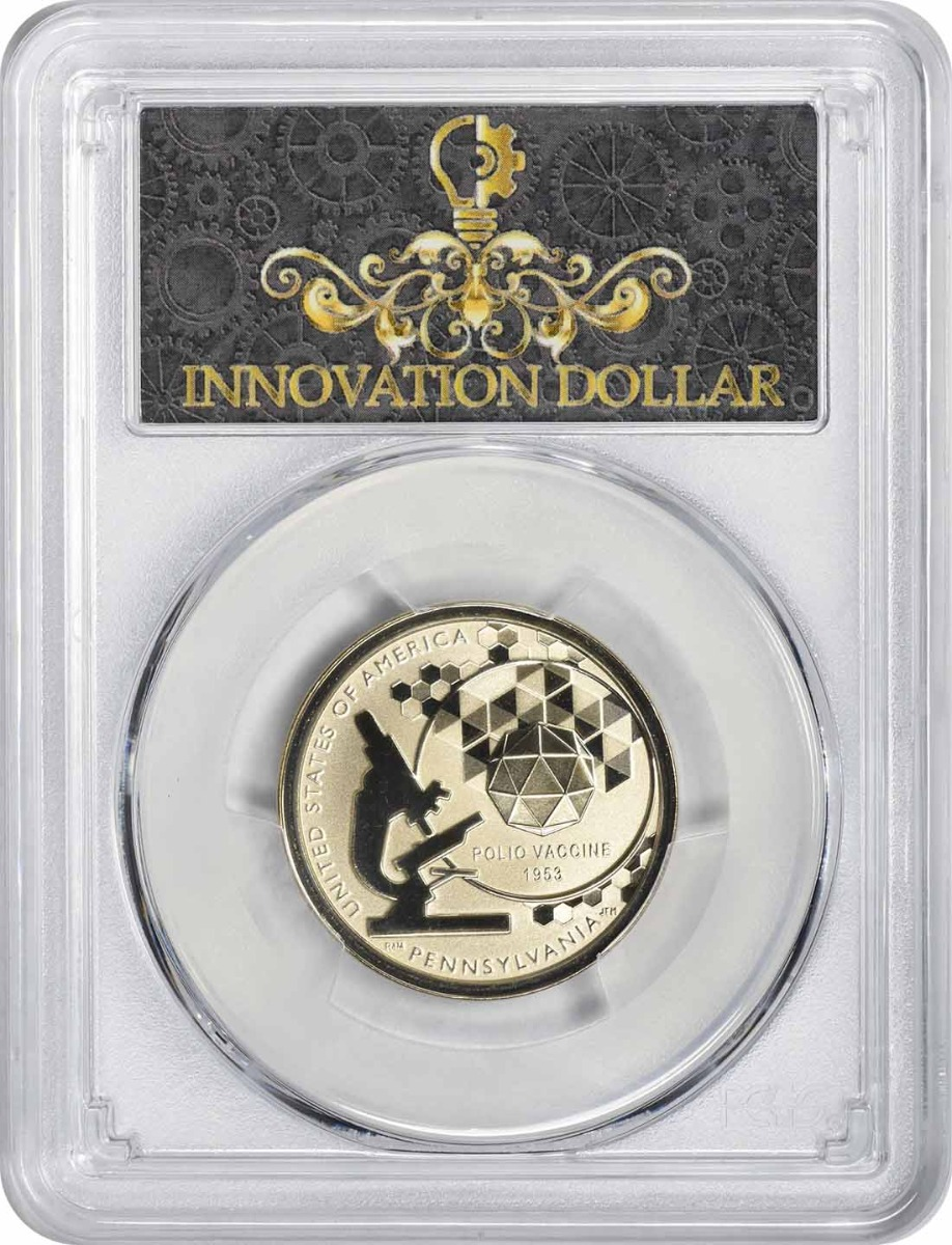 2019-S American Innovation Dollar PA Polio Vaccine 1953 Reverse Proof PR70 First Strike PCGS