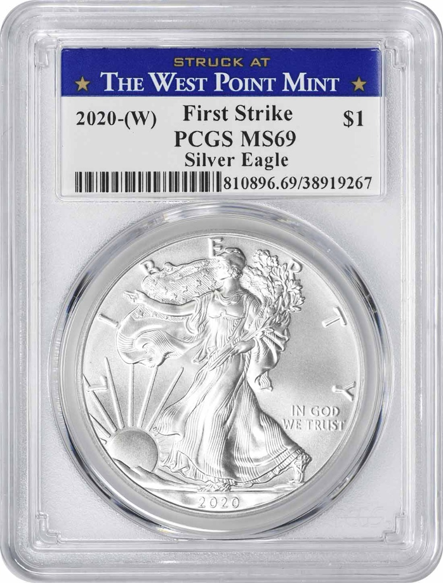 2020-(W) $1 American Silver Eagle MS69 First Strike PCGS (Struck at West Point Label)