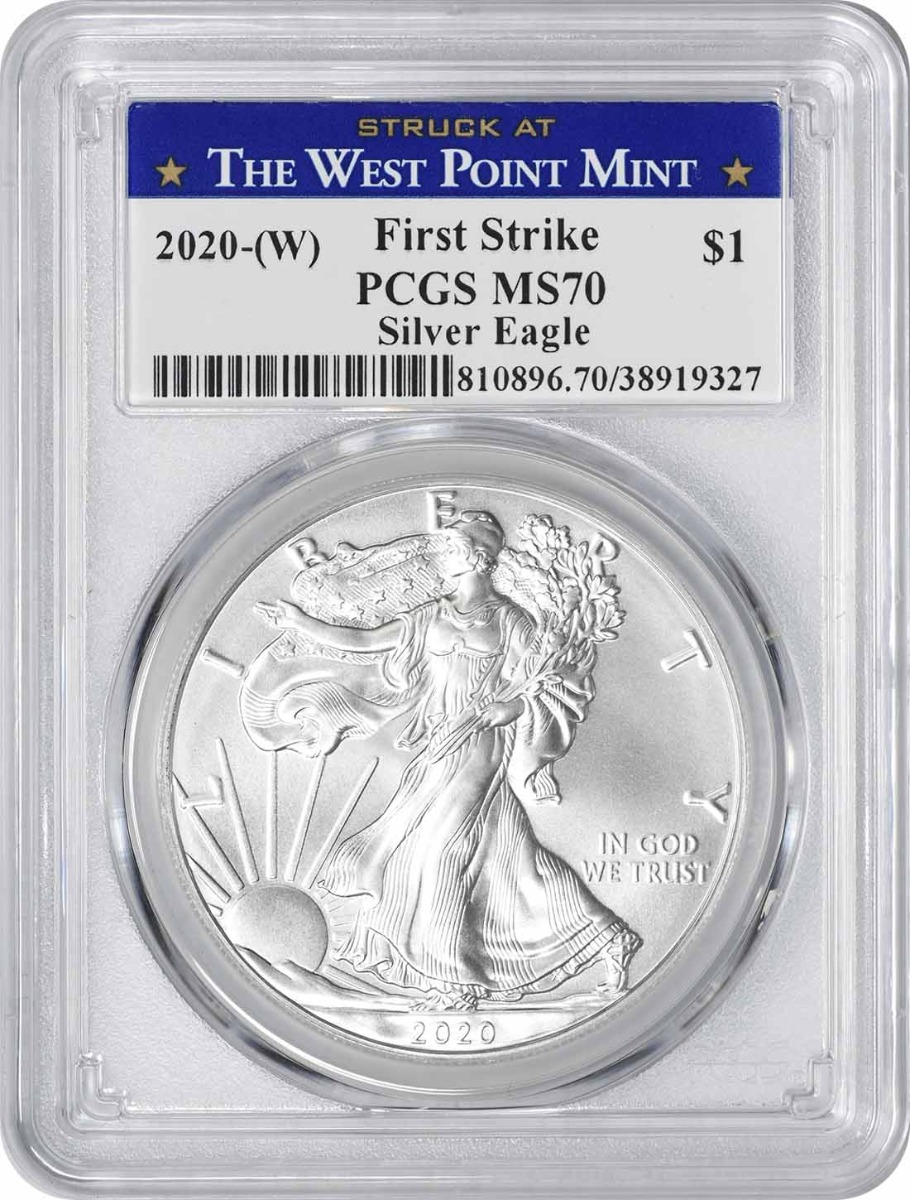 2020-(W) $1 American Silver Eagle MS70 First Strike PCGS (Struck at West Point Label)
