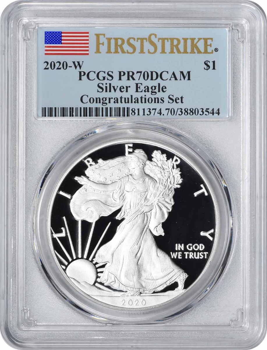 2020-W $1 American Silver Eagle Congratulations Set PR70DCAM First Strike PCGS