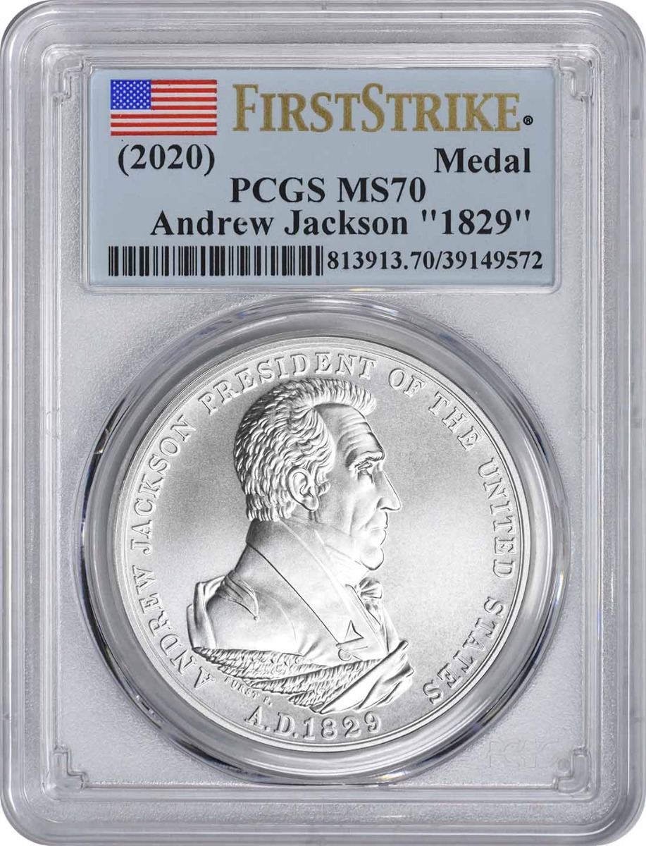 """(2020) Andrew Jackson """"1829"""" Silver Matte Finish Medal MS70 First Strike PCGS"""