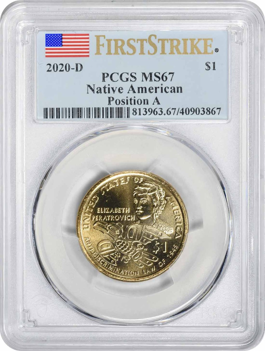 2020-D Native American Sacagawea Dollar Position A MS67 First Strike PCGS