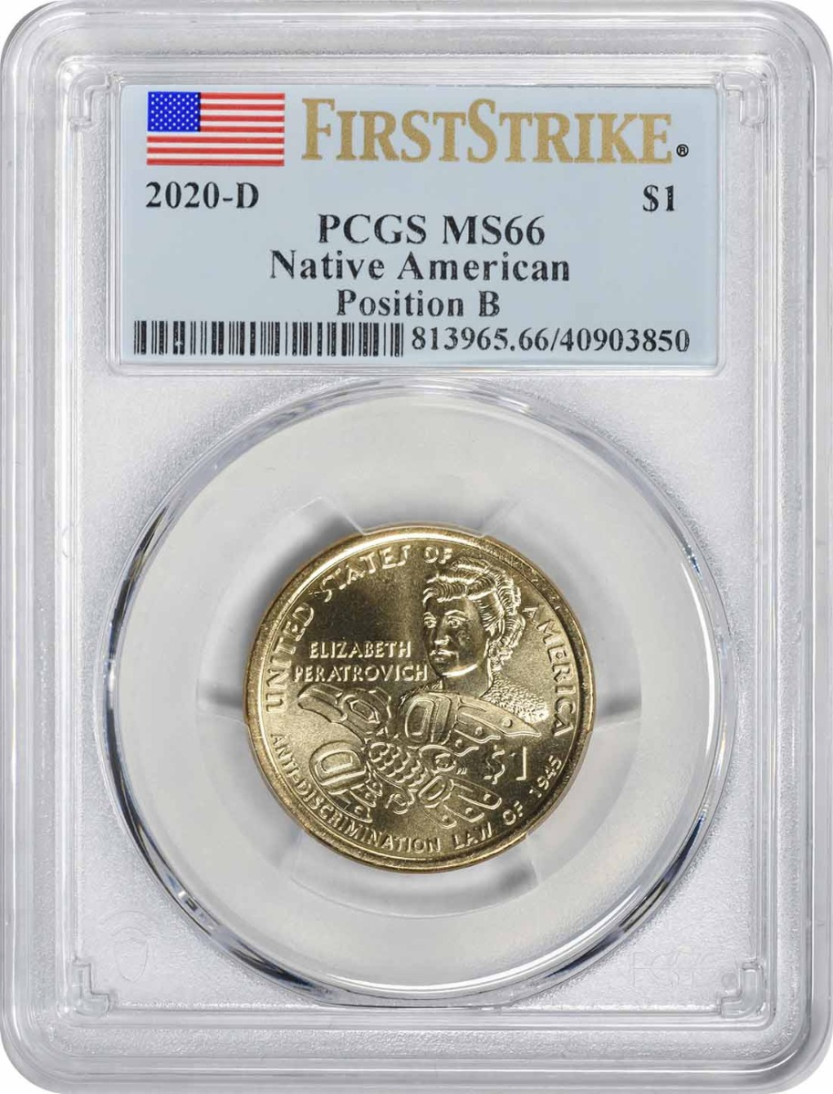 2020-D Native American Sacagawea Dollar Position B MS66 First Strike PCGS