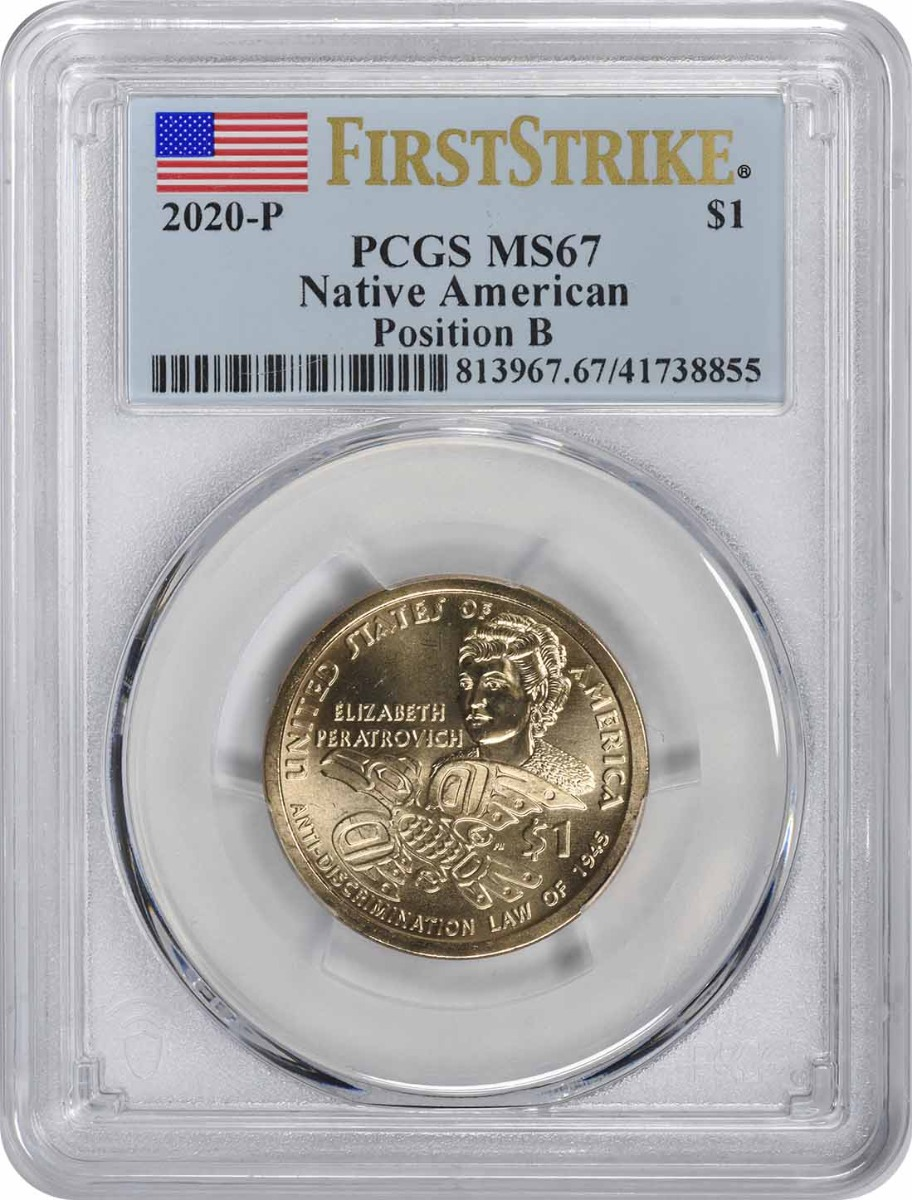 2020-P Sacagawea Native American Dollar Position B MS67 First Strike PCGS