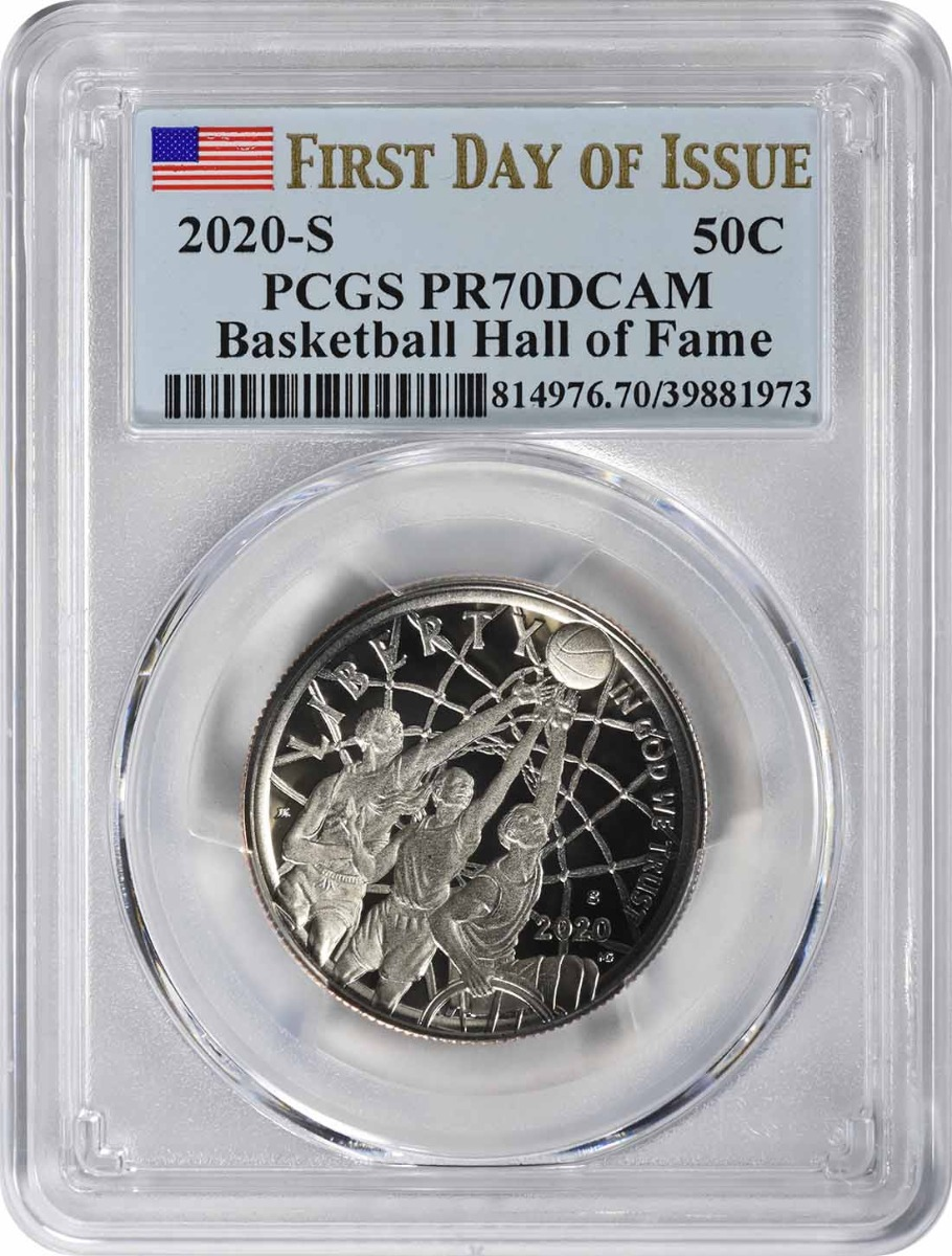 2020-S Basketball Hall of Fame Commemorative Half Dollar PR70DCAM First Day of Issue PCGS
