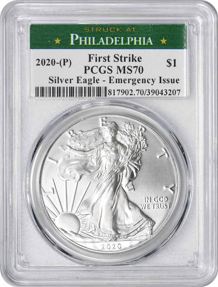 2020-(P) $1 American Silver Eagle Emergency Issue MS70 First Strike PCGS (Struck at Philadelphia)