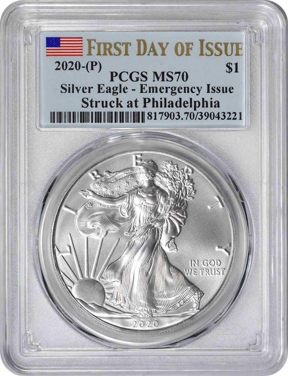 2020-(P) $1 American Silver Eagle Emergency Issue MS70 First Day of Issue PCGS