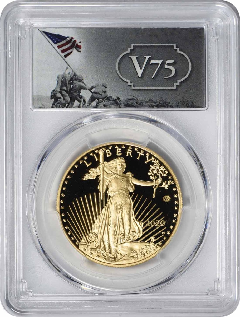 2020-W $50 American Gold Eagle End of World War II v75 Privy PR69DCAM First Day of Issue PCGS (v75 Label)