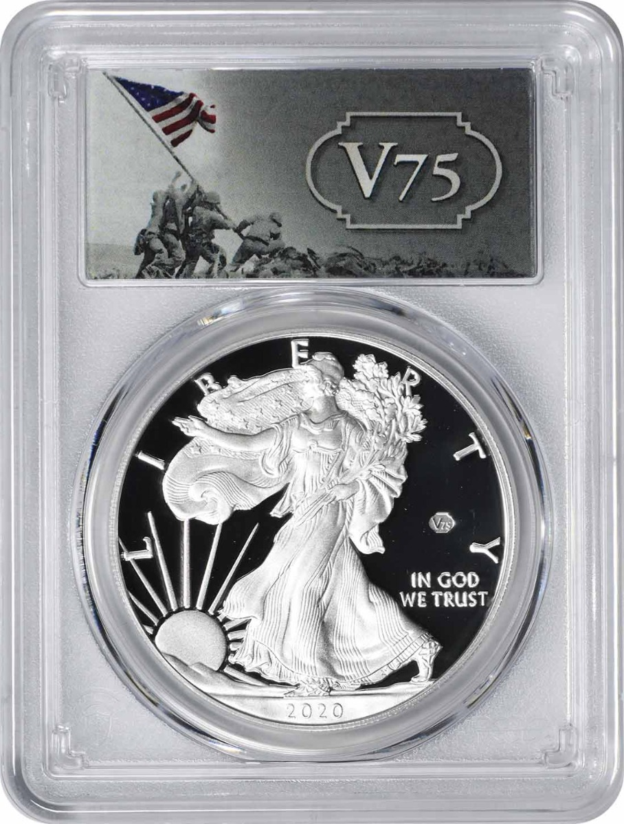 2020-W $1 American Silver Eagle End of World War II v75 Privy PR70DCAM First Strike PCGS (v75 Label)