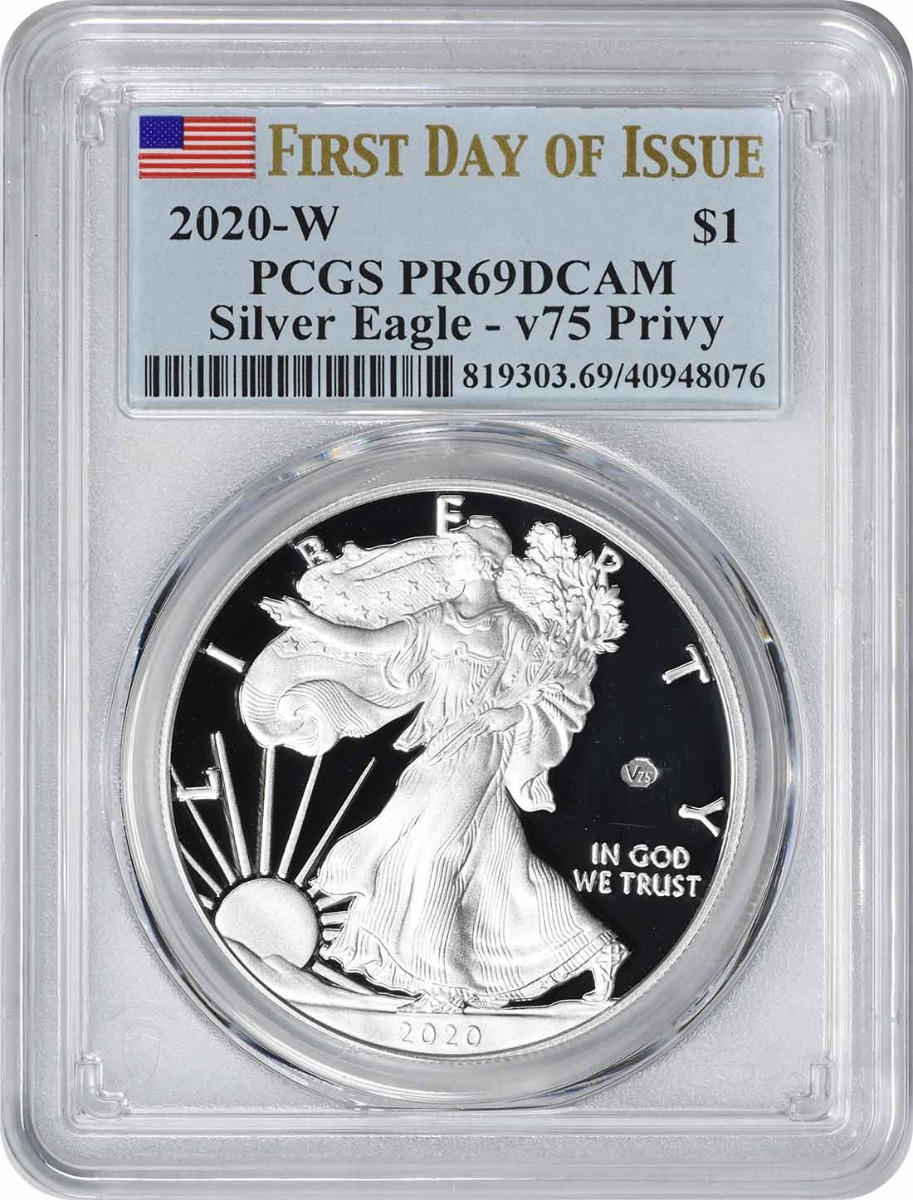 2020-W $1 American Silver Eagle End of World War II v75 Privy PR69DCAM First Day of Issue PCGS