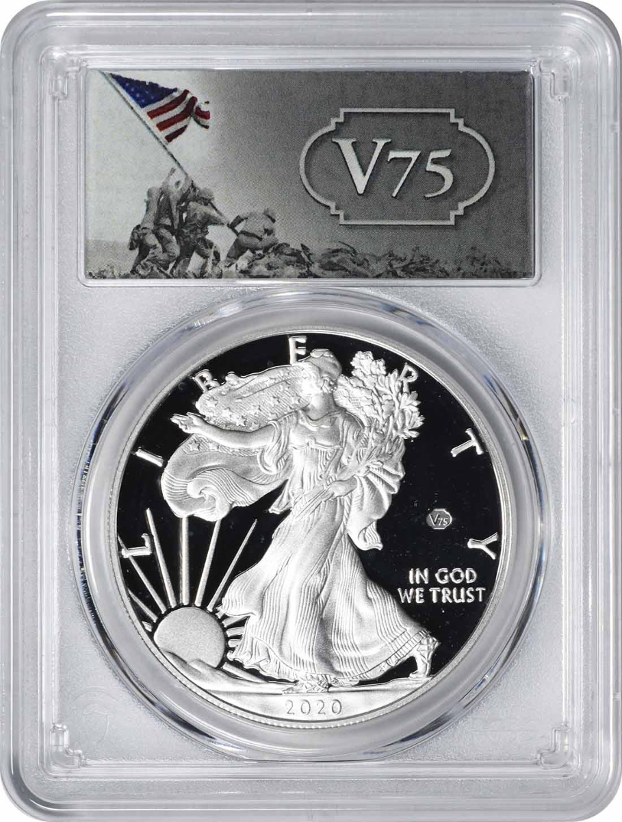 2020-W $1 American Silver Eagle End of World War II v75 Privy PR69DCAM First Day of Issue PCGS (v75 Label)