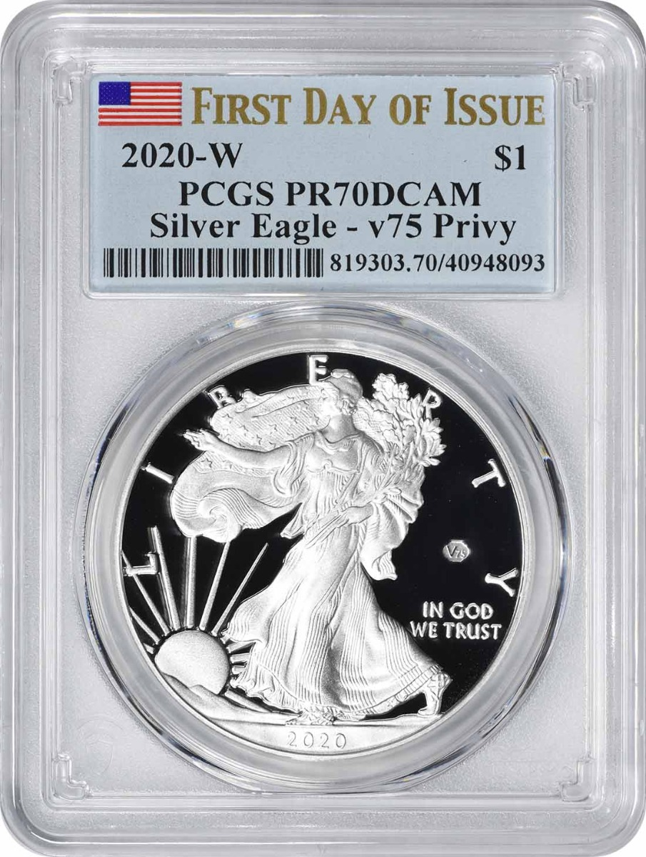 2020-W $1 American Silver Eagle End of World War II v75 Privy PR70DCAM First Day of Issue PCGS