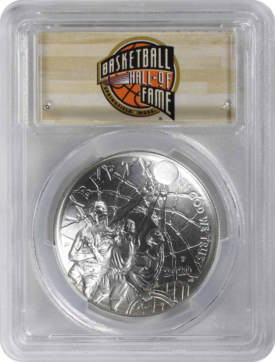 2020-P Basketball Hall of Fame Commemorative Silver Dollar MS70 First Strike PCGS (HOF Label)