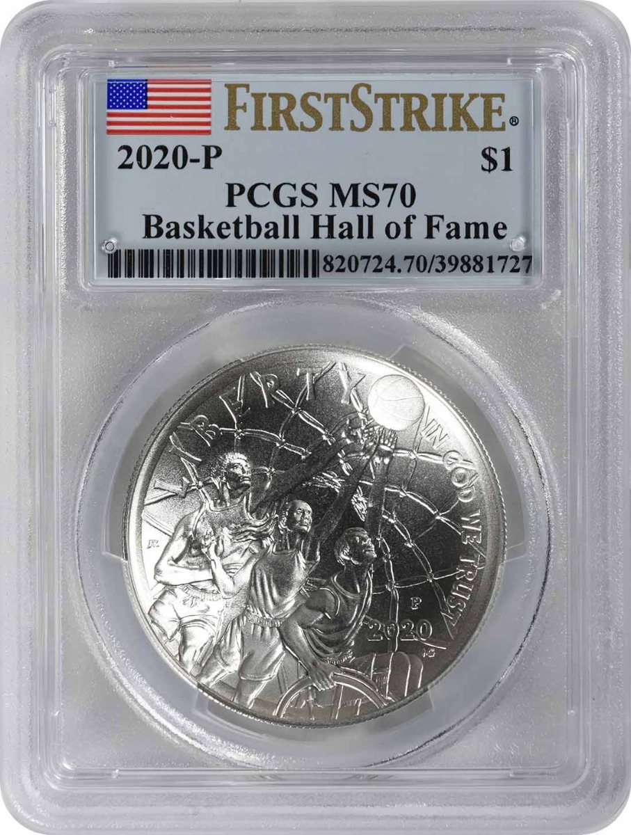 2020-P Basketball Hall of Fame Commemorative Silver Dollar MS70 First Strike PCGS