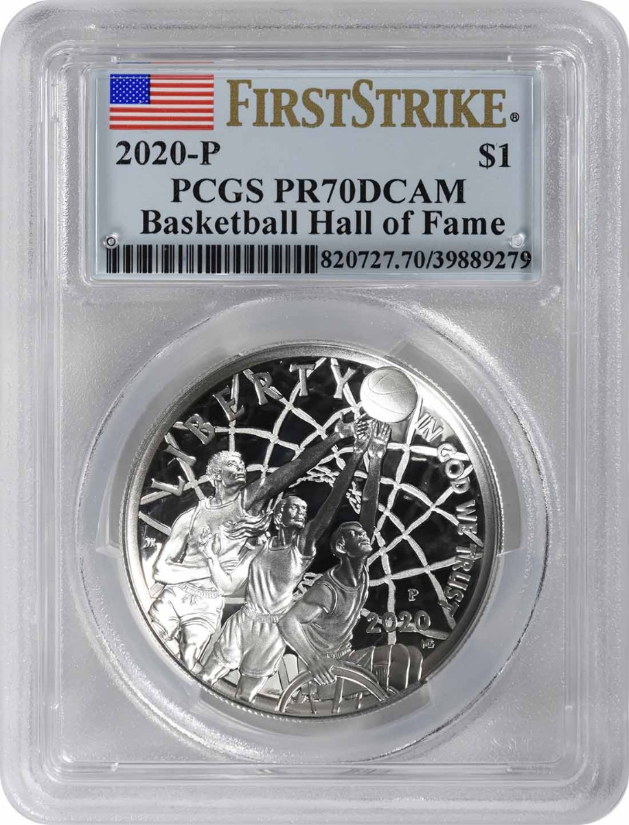 2020-P Basketball Hall of Fame Commemorative Silver Dollar PR70DCAM First Strike PCGS