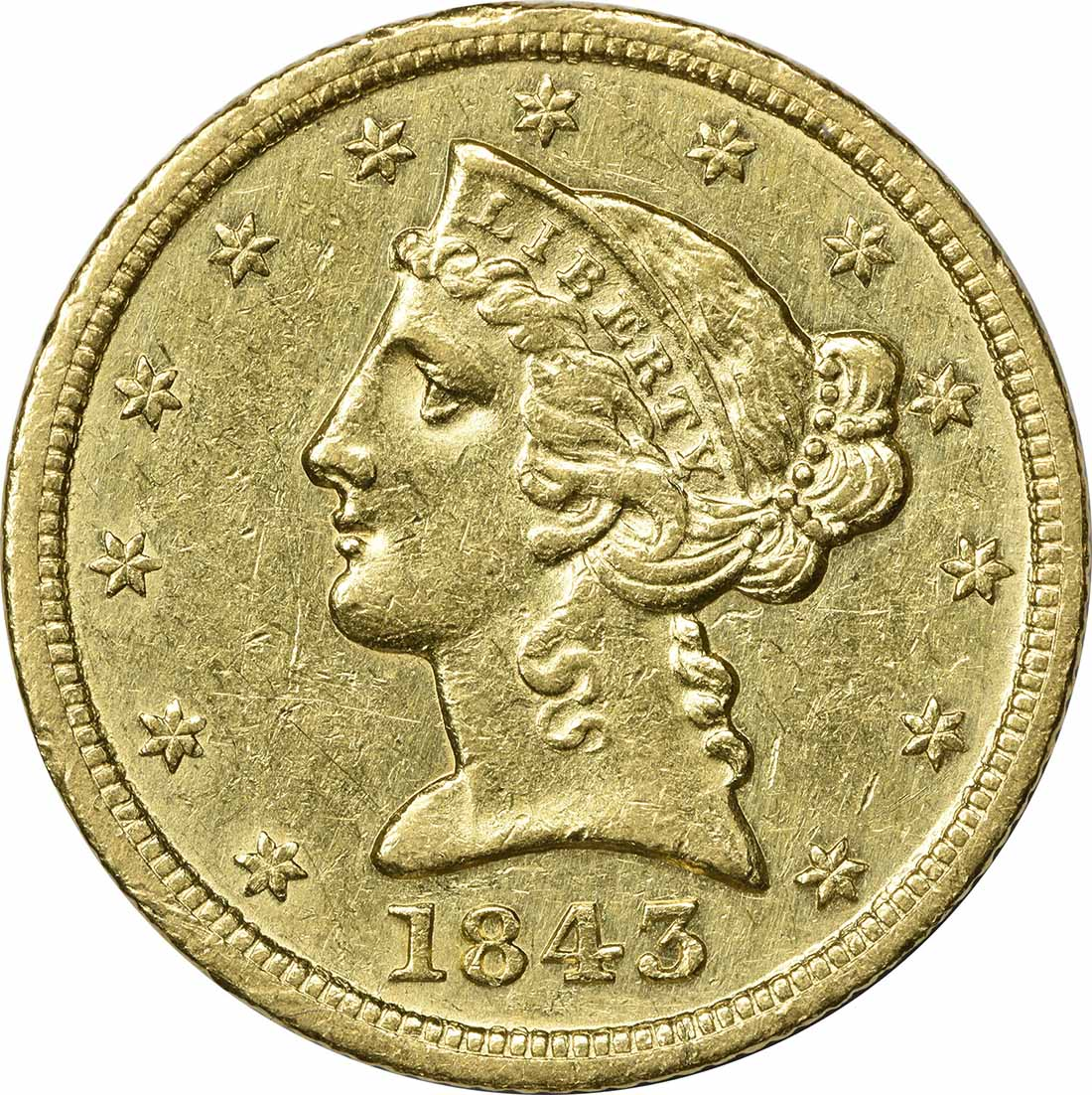 1843-D $5 Gold, AU, Uncertified, Liberty