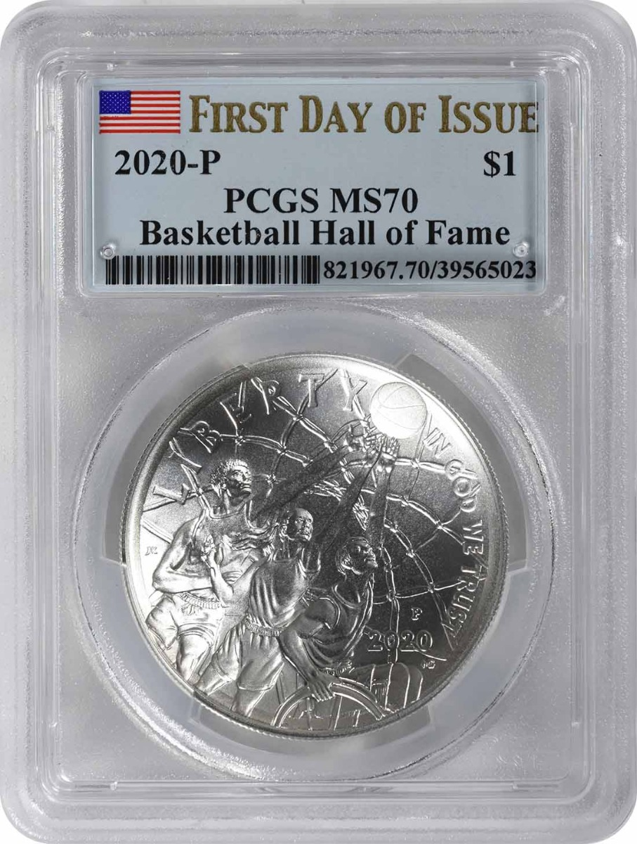 2020-P Basketball Hall of Fame Commemorative Silver Dollar MS70 First Day of Issue PCGS