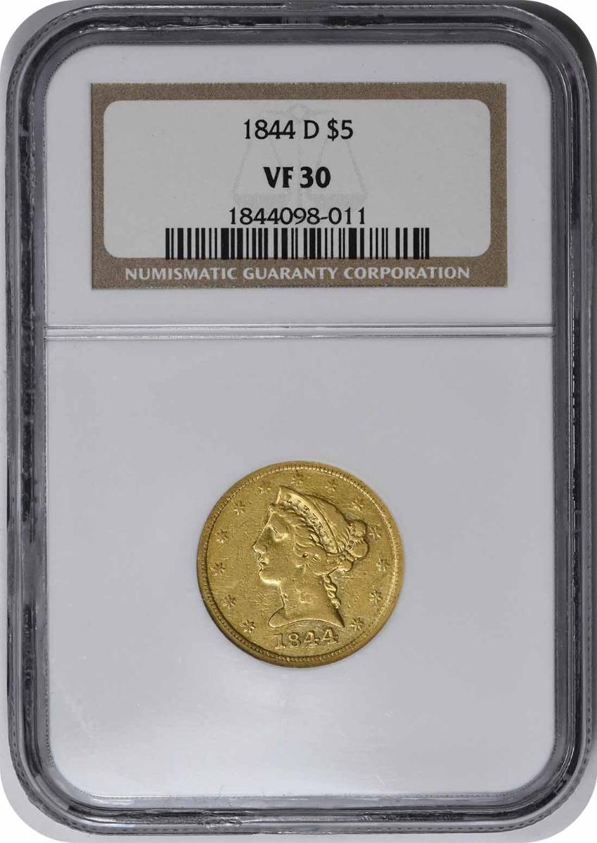 1844-D $5 Gold Liberty VF30 NGC