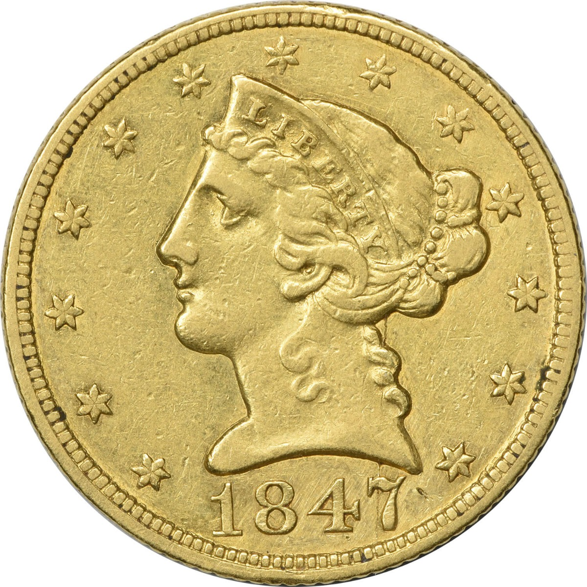 1847 $5 Gold, EF, Uncertified, Liberty