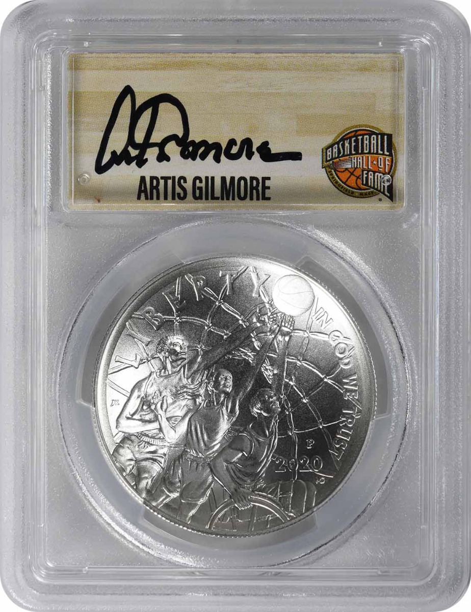 2020-P Basketball Hall of Fame Commemorative Silver Dollar MS70 First Strike PCGS (Artis Gilmore Signature)
