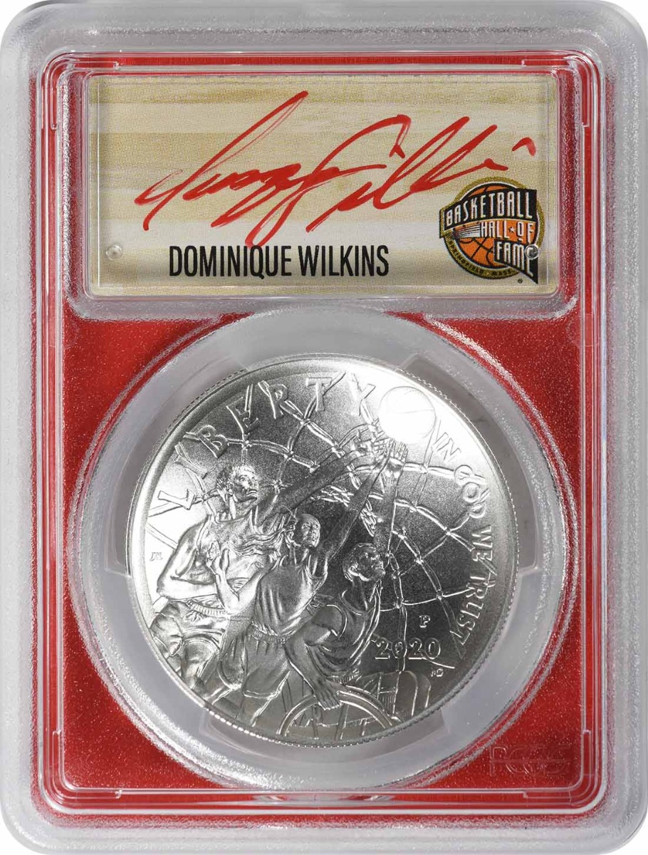 2020-P Basketball Hall of Fame Commemorative Silver Dollar MS70 First Strike PCGS (Dominique Wilkins Signature, Red, 1 of 21)