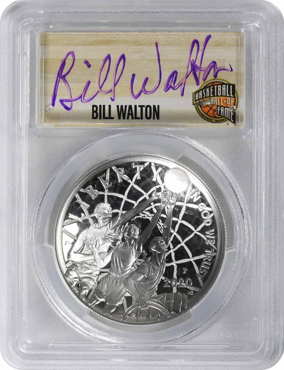 2020-P Basketball Hall of Fame Commemorative Silver Dollar PR70DCAM First Strike PCGS (Bill Walton Signature, Purple, 1 of 24)