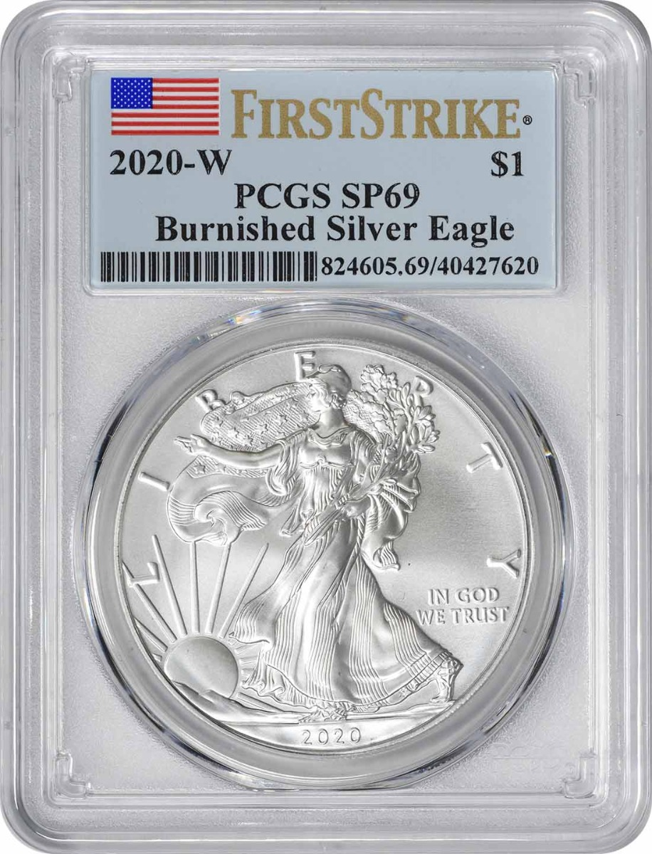 2020-W $1 American Silver Eagle Burnished SP69 First Strike PCGS