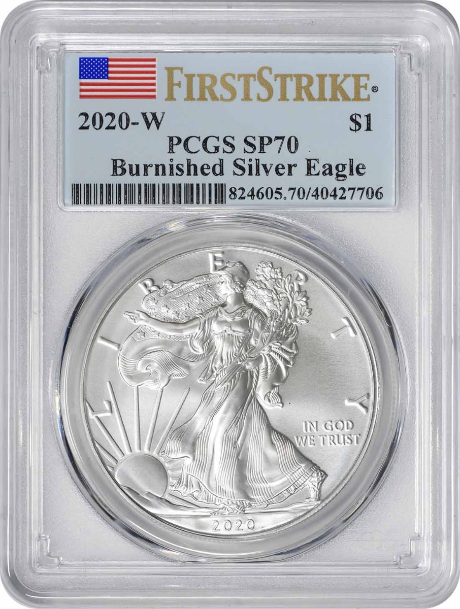 2020-W $1 American Silver Eagle Burnished SP70 First Strike PCGS