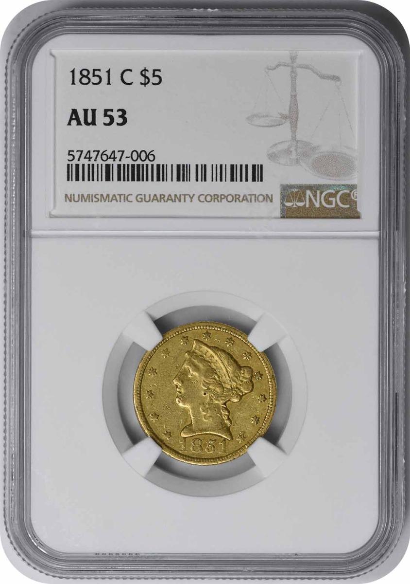 1851-C $5 Gold Liberty Head AU53 NGC