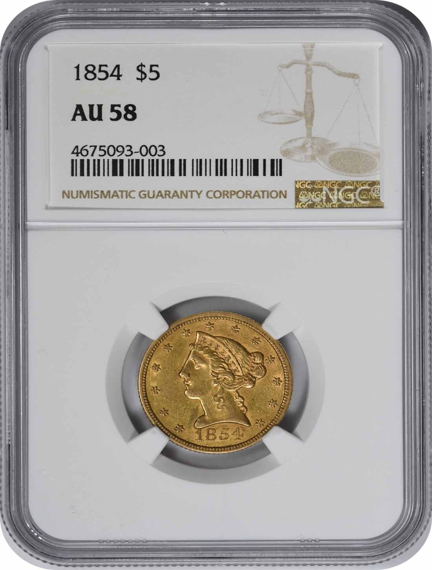 1854 $5 Gold AU58 NGC