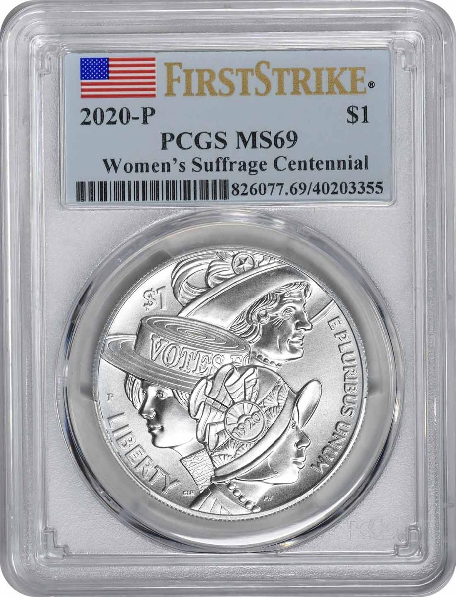 2020-P Women's Suffrage Centennial Commemorative Silver Dollar MS69 First Strike PCGS