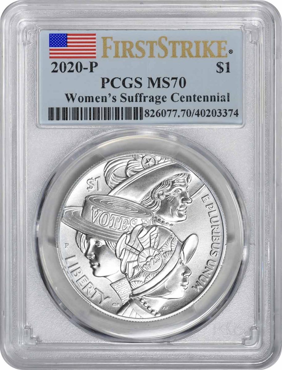 2020-P Women's Suffrage Centennial Commemorative Silver Dollar MS70 First Strike PCGS