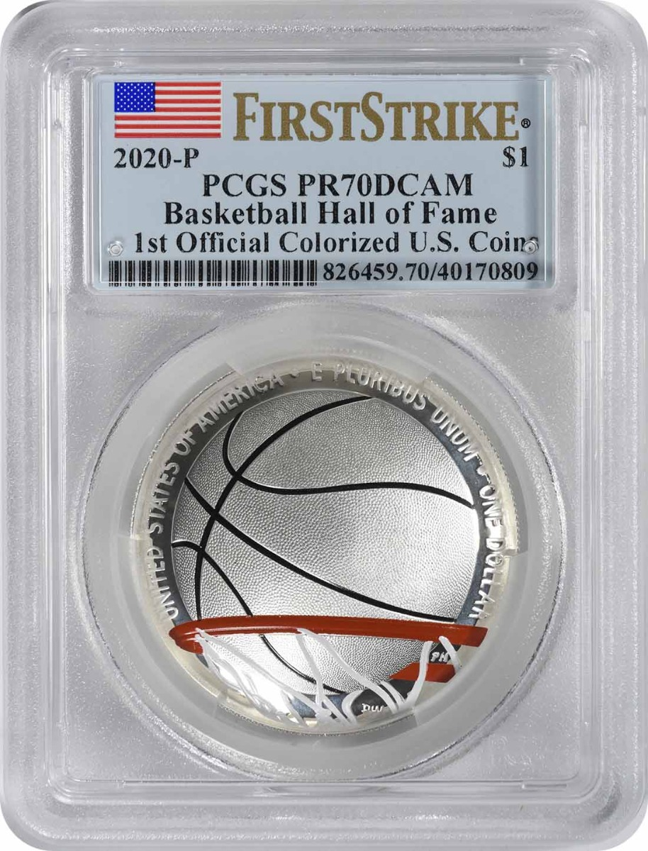 2020-P Basketball Hall of Fame Commemorative Silver Dollar 1st Official Colorized U.S. Coins PR70DCAM First Strike PCGS