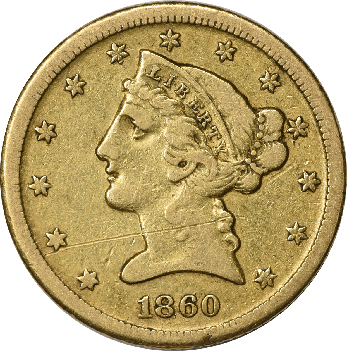 1860-D $5 Gold, Choice VF (Scratch on Obverse), Uncertified, Liberty