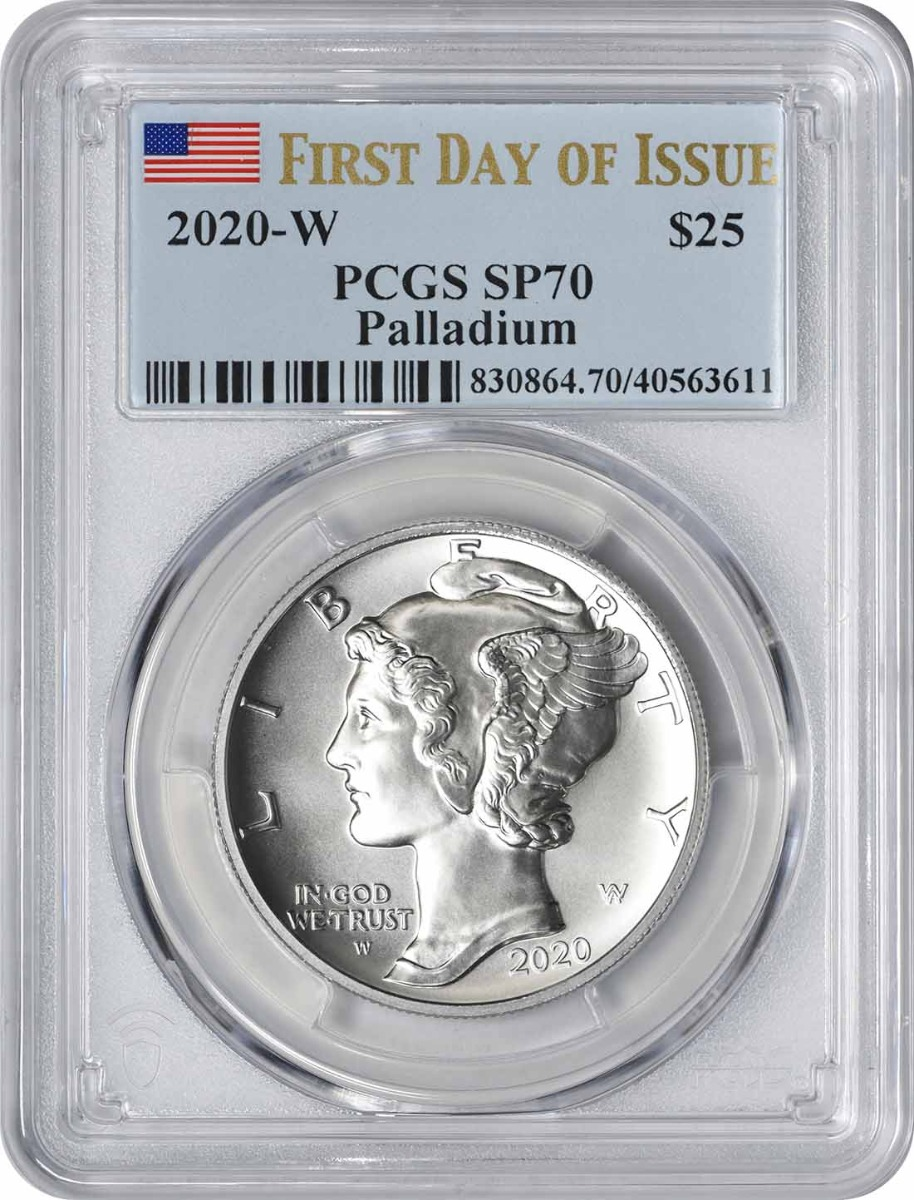 2020-W $25 American Palladium Eagle SP70 First Day of Issue PCGS