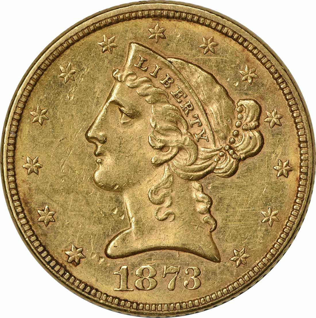 1873 $5 Gold Liberty Head Open 3 AU58 Uncertified