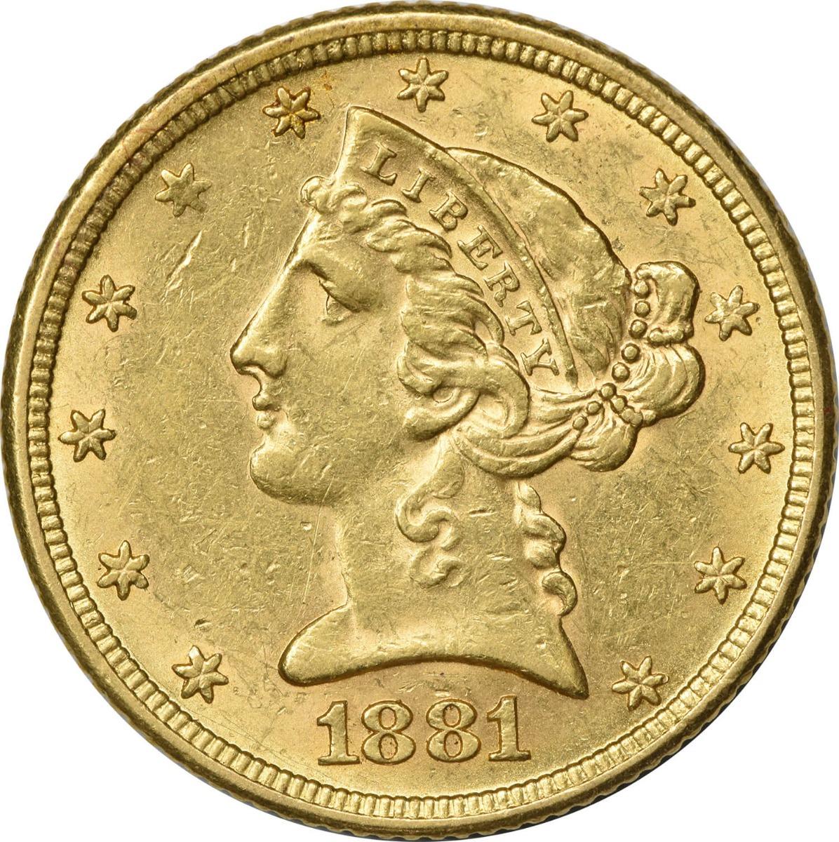 $5 Gold Liberty Half Eagle Random Date in the 1880's graded AU58