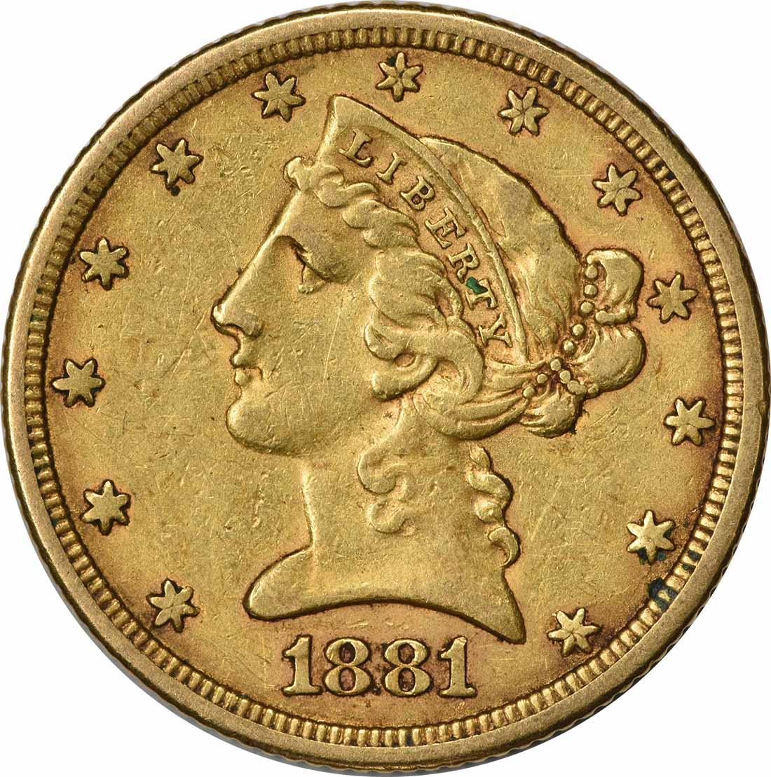 1881 $5 Gold Liberty Head EF Uncertified