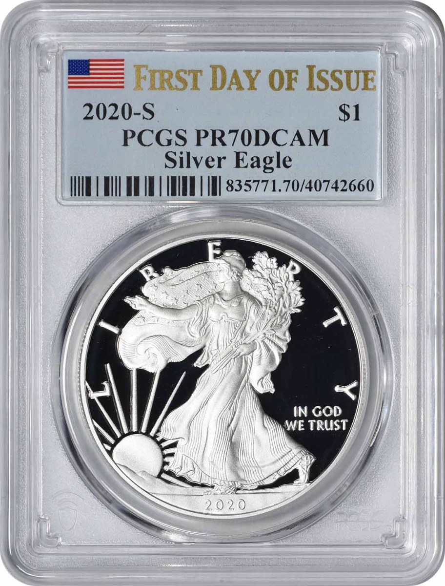 2020-S $1 American Silver Eagle PR70DCAM First Day of Issue PCGS
